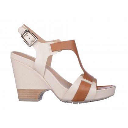 Sandale CLARKS alb maro, din piele naturala
