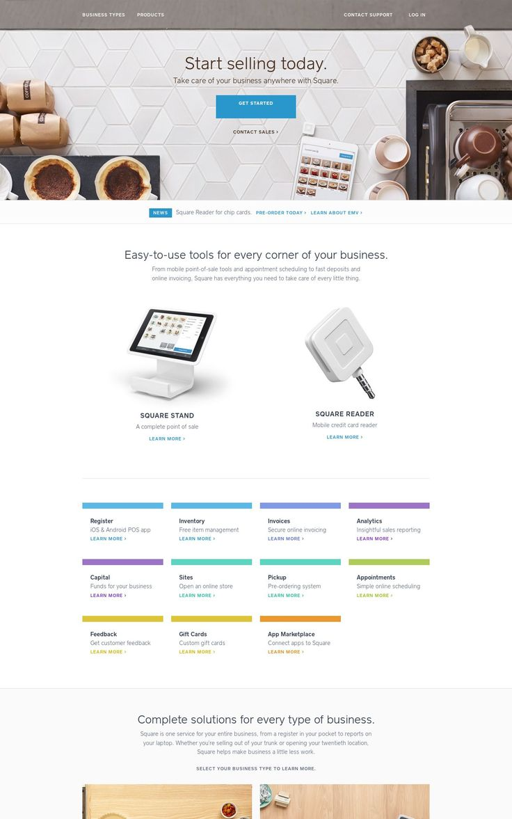 Square - really cool product images and placement/layout