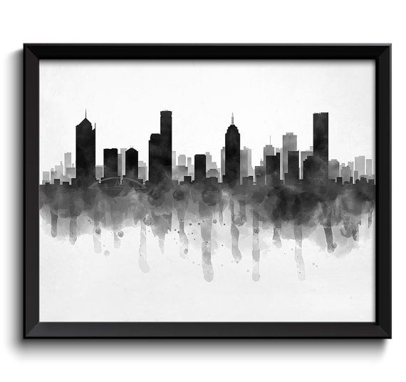 Melbourne Skyline Australia Cityscape Art Print Poster Black White Grey Watercolor Painting
