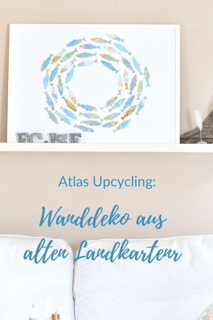 Atlas Upcycling Fisch Schwarm Aus Landkarten Deko Fische