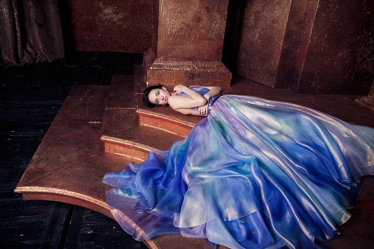 BLT 108 ombre silk organza evening gown