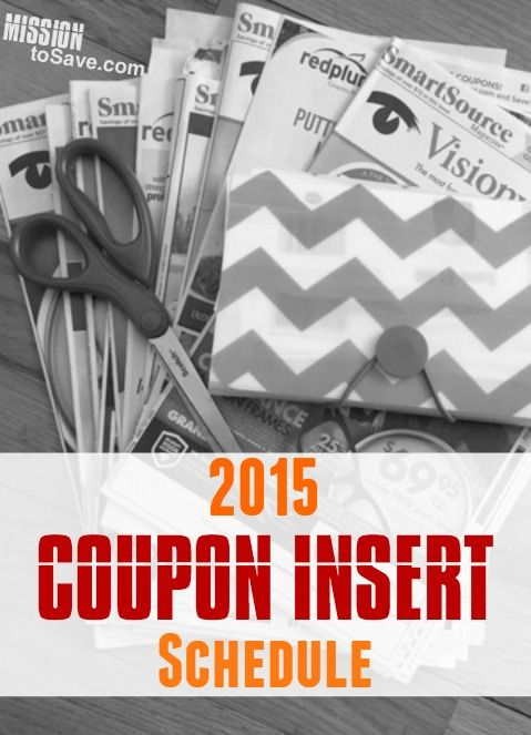 View the full 2015 Coupon Insert Schedule to see what coupons will be in your Sunday Newspaper each week.