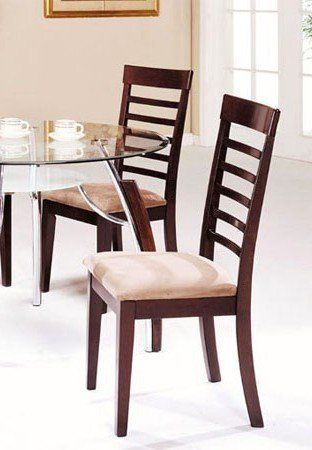 Set Of 2 Dining Chairs Cherry Light Beige Finish By Acme Furniture Save 46