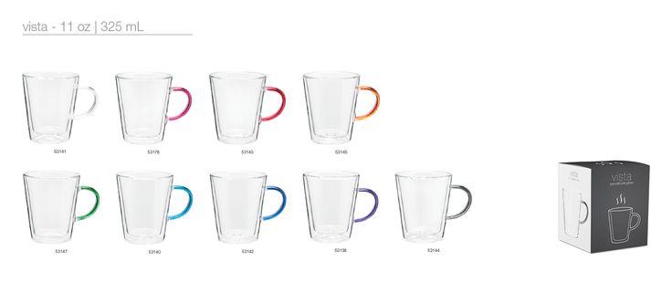 11 oz vista mug | 11 oz double wall borosilicate glass with color accent handle