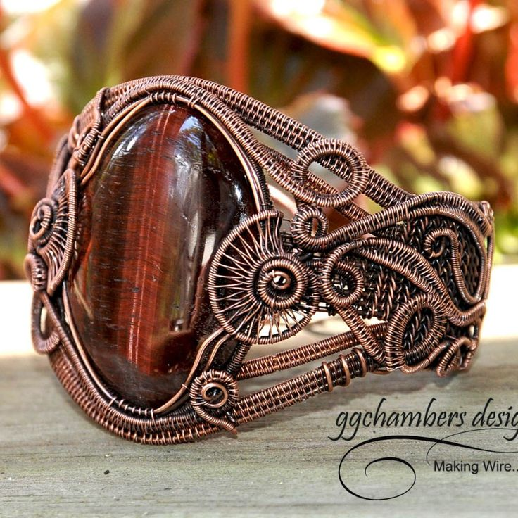 Antiqued Copper Woven Wire Cuff Bracelet with a Red Tiger Eye Cabochon