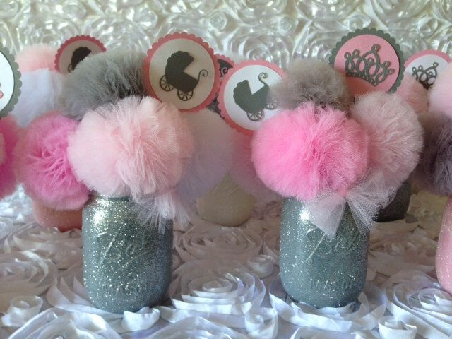 pink gray baby shower decorations baby shower centerpieces baby shower