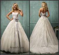 Bola blanca impresionante vestido de Amanda novias vestido de boda chino del cordón