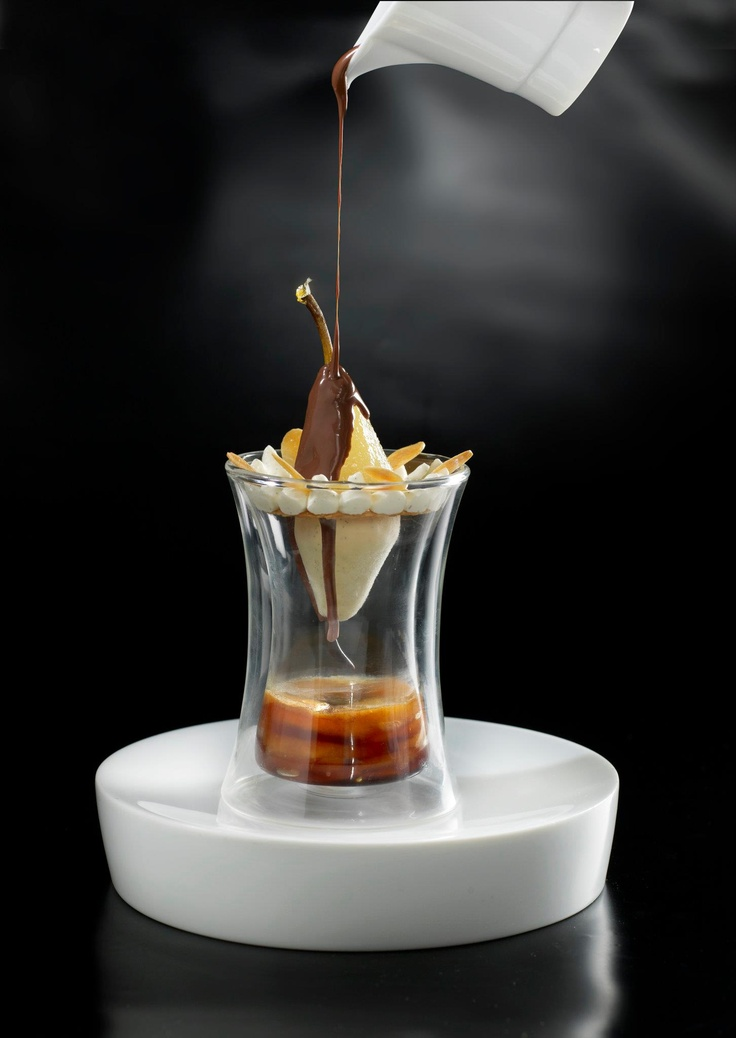 Poire Belle Hélène with Chocolate Sauce. http://www.annabelchaffer.com/categories/Dining-Accessories/