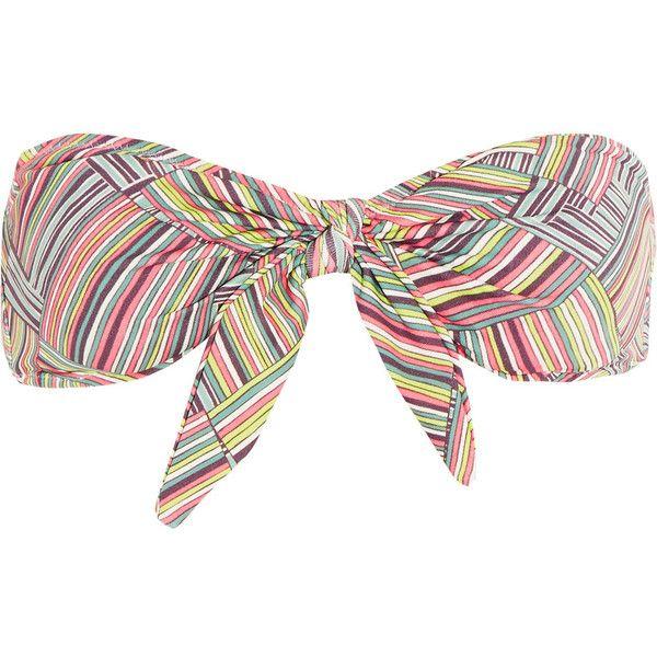 Eberjey Deamweaver printed knottted bandeau bikini top (200 ILS) ❤ liked on Polyvore featuring swimwear, bikinis, bikini tops, multi, colorful bikini, swim suit tops, neck-tie, eberjey bikini and multi color bikini