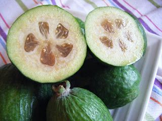 Thinking About Food: a couple of feijoa recipes, including jam, chocolate cake and sorbet.