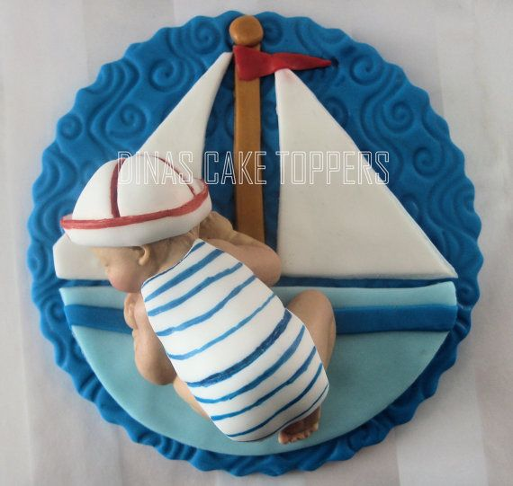 Sailboat Sailor Nautical Baby Fondant Gum Paste Cake Toppers