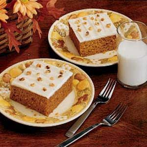 Pumpkin Sheet Cake Recipe from Taste of Home... ever since this was published in 1995, this has been one of our favorites!  And I always have to fix it at LEAST once in the Fall. <3