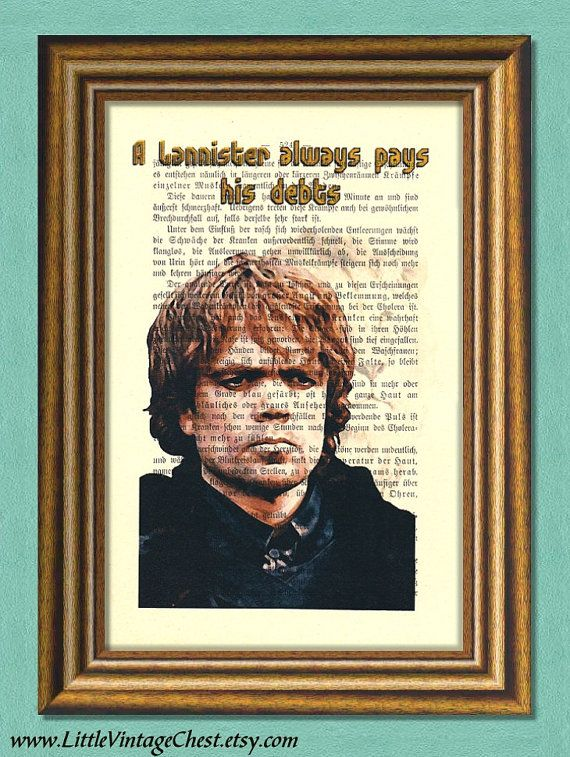 Game of Thrones TYRION LANNISTER   by littlevintagechest on Etsy, $7.99