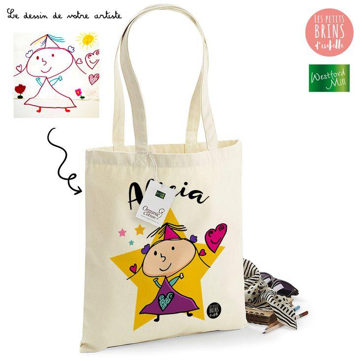 Sac Cabas Tote Bag personnalisé avec le dessin de votre enfant sublimé - Alicia 5 ans