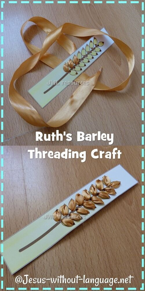 Thread the ribbon through to make the wheat head - Ruth craft - poss too advanced for under 5s?