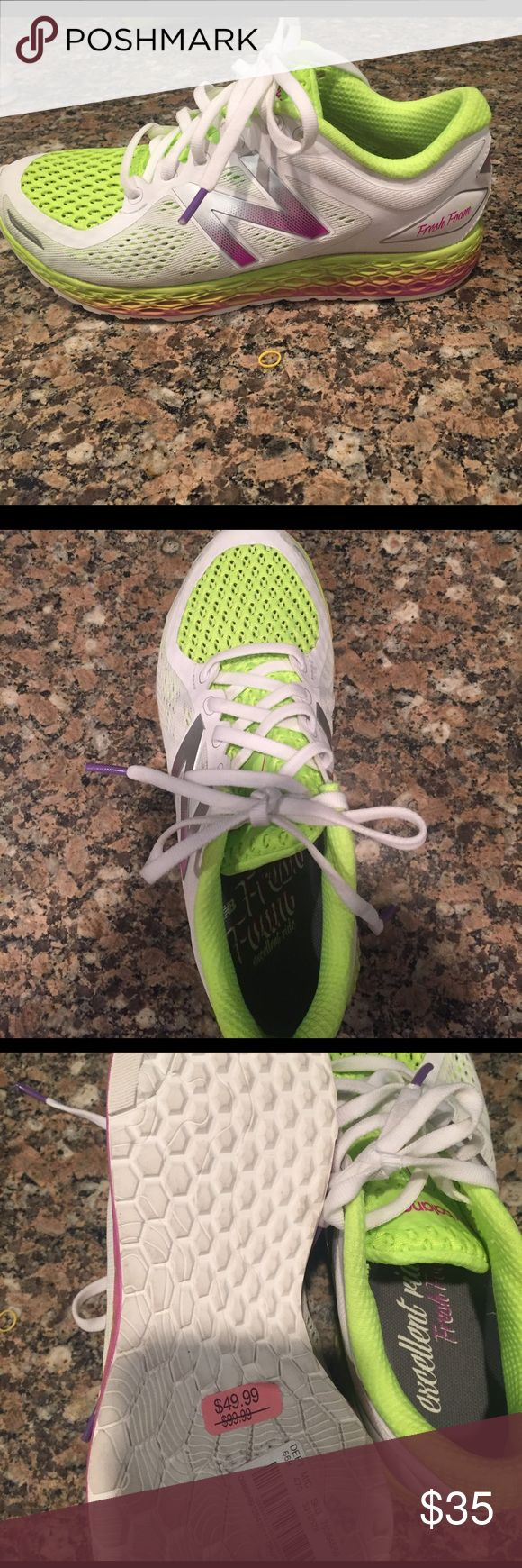 New Balance Excellent Ride White and lime green mesh running shoe. Never worn! Bought a 7 instead of an 8 by mistake trying to recoup some $! New Balance Shoes Athletic Shoes