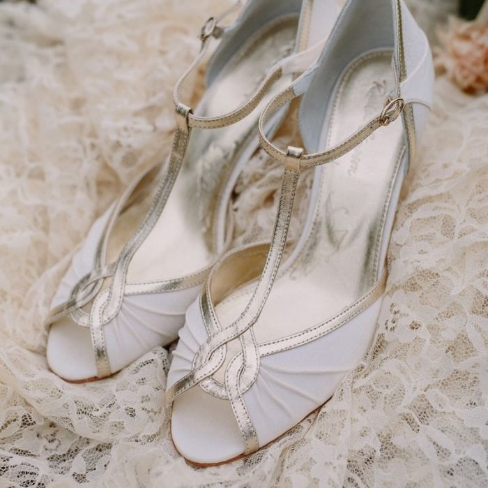 Ive Just Found Mimi Ivory Satin T Bar Peep Toe Wedding Shoes A Beautiful Shoe In With Metallic Leather And