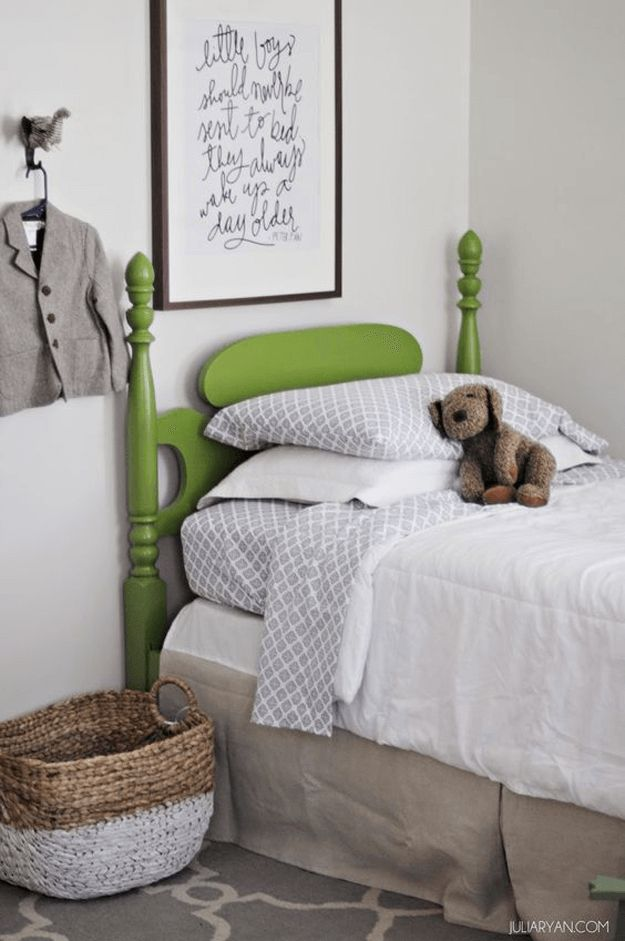 boys bedroom with lime green bed, pantone greenery, lime green, spring green, apple green
