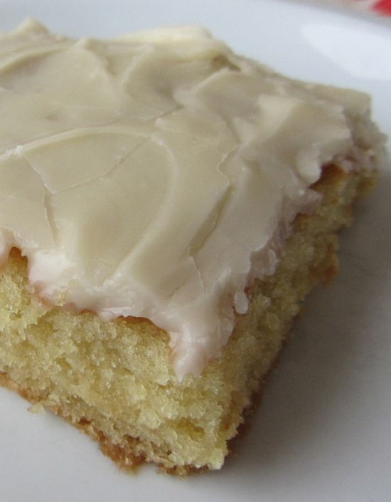 "White Texas Sheet Cake. It is cake flavored. Stop for a second and imagine the flavor ""birthday cake"" and that is what this is. And the frosting is like the most incredible vanilla fudge with a rich hint of milk. It's bliss. Seriously, best cake ever."