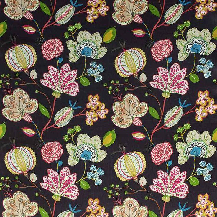 Warwick Fabrics : NEWBURY, colour Chocolate  #warwickfabrics #floral #textiles