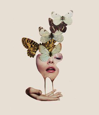 Francisca Pageo: Butterflies, 2013 #collage #butterflies #portrait #pink #contemporaryart  www.kidsofdada.com/products/butterflies-2013