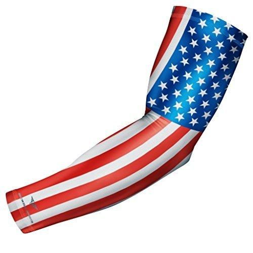 USA Flag Sports Compression Arm Sleeve - Youth & Adult Sizes - Baseball Football Basketball Golf by Bucwild Sports (1 Sleeve - Adult Large)