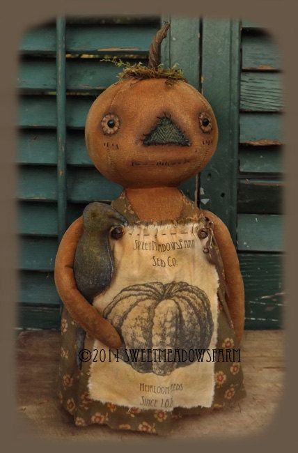 Pumpkin Stumpkin Primitive Pumpkin doll by SweetMeadowsFarm, $8.00
