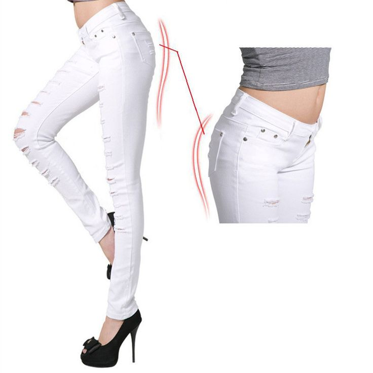 Summer Trousers Black and White Distressed Jeans Women Plus Size ...