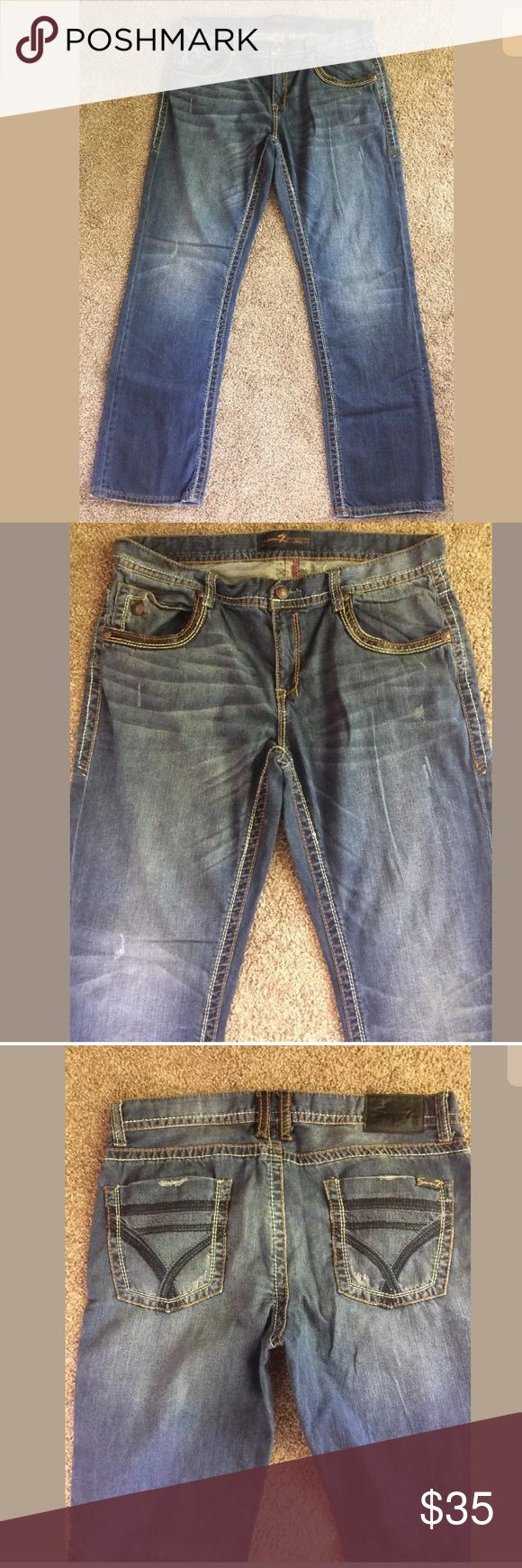 Seven7 Jeans Straight Fit Men's Size 38 x 34 Seven7 Jeans Straight Fit Men's Size 38 x 34 Jeans Embroidered Hemlines . Gently worn still in very good condition. Distressed Seven7 Jeans Straight