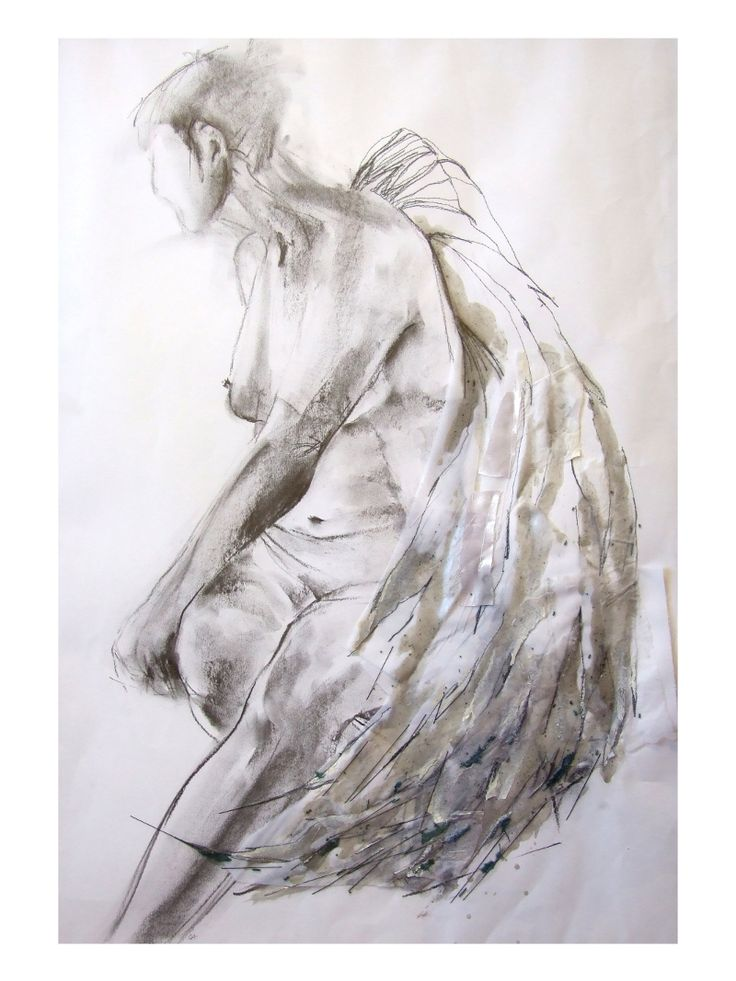 Harpy at rest, charcoal and stitch