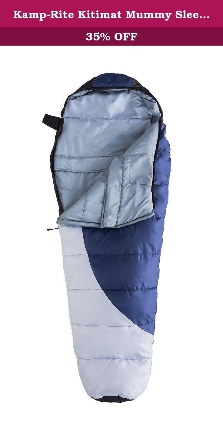 Kamp-Rite Kitimat Mummy Sleeping Bag, Blue/Gray. The Kamp-Rite kit mat mummy sleeping bag no more nights with cold toes great for scouting, camping, sleep-overs, tailgating, camping and stay in' warm! light-weight at only 4 pounds, you can carry this around all day.. excellent for outdoor camping or indoor sleep overs! heavy duty sleeping bag that will keep you very warm in the cold! weather proof, polyester material dries super fast when wet. Machine washable. Temperature rating…