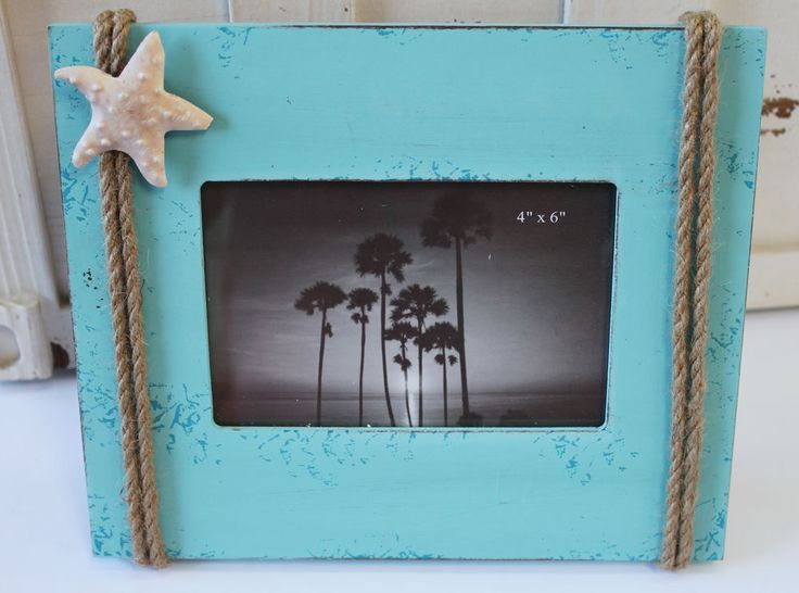 Blue picture frame with nautical rope starfish beach for Bungalow style picture frames