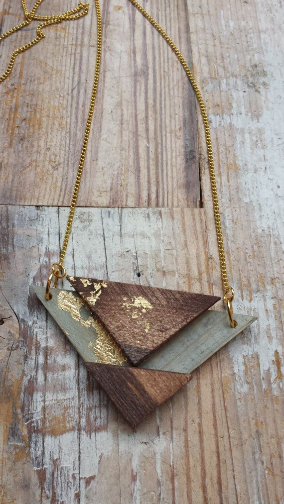 Wooden geometric necklace with gold leaf by ADesignJourney on Etsy, $26.00