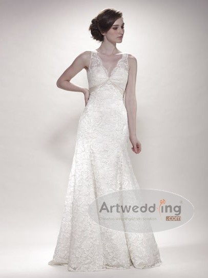 Elegant Allover Lace Trumpet Wedding Gown with Satin Trim