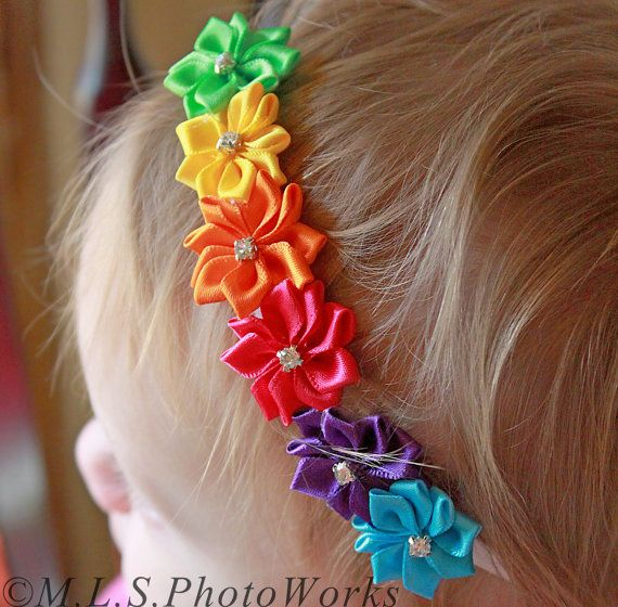 The Prism Effect Rainbow Flower Headband - Little Girl's Satin Flower Rainbow Headband - Baby Girl Rhinestone Rainbow Birthday Hair Bow