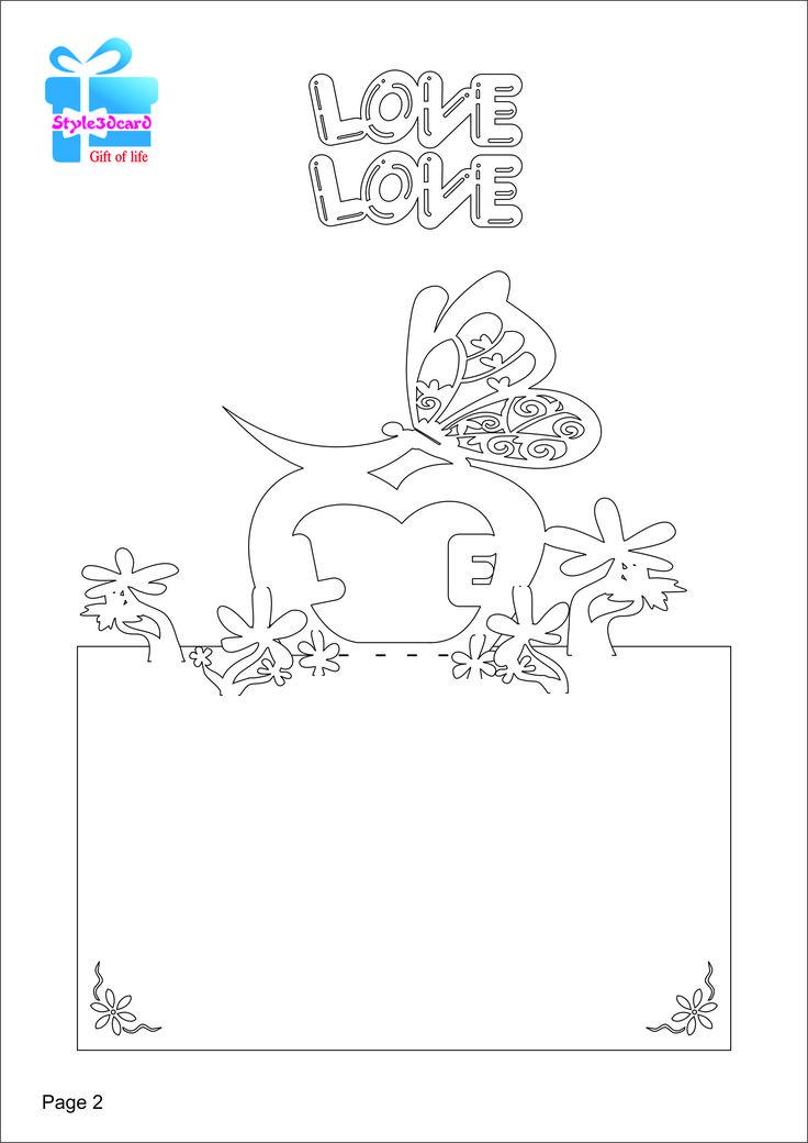 Love Butterfly 3D Pop-Up Card/kirigami pattern 2