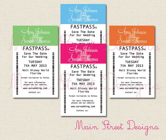 "These are just AMAZING!   Fastpass-Inspired ""Save the Date"" by MainStreetDesigns, £5.00"