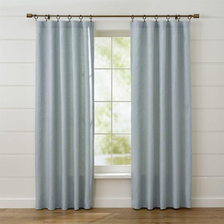 Largo Aqua Linen Curtain Panels CurtainsDining Room