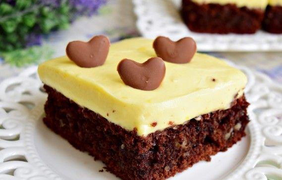 Negresa cu ciocolata si crema de lamaie