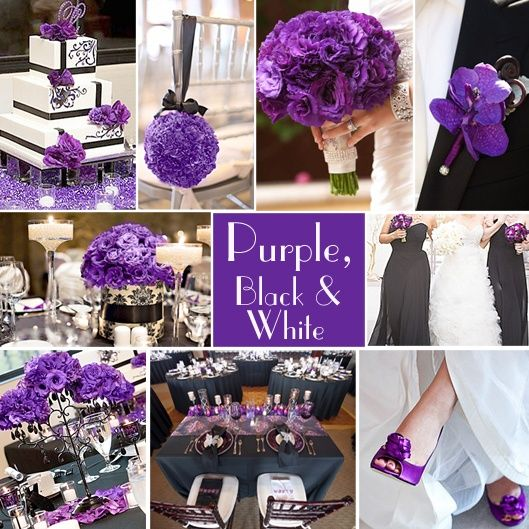 3 Striking Color Combinations For Fall: Purple, Black And White Wedding Colors