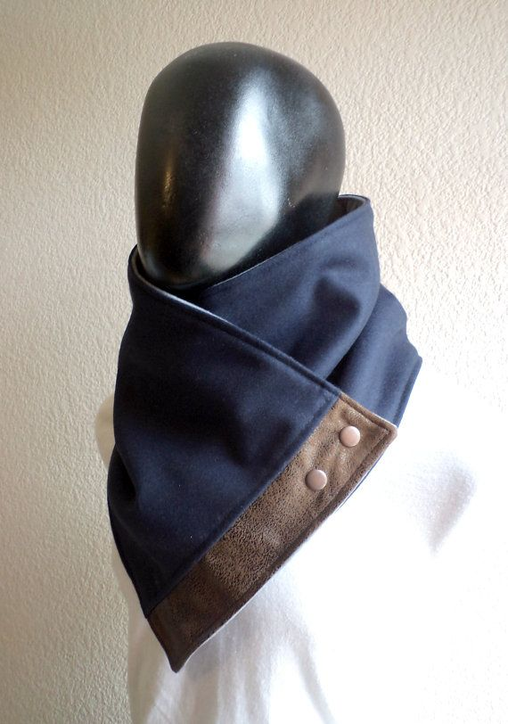 Mens e Womens Scarf.Unisex Cowl, confortável e quente, lã azul marinho e camurça do falso, metálico snaps.Classic e chique, presente para homens, mulheres, outono