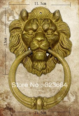 """Китайский бронзовый лев , головой дверной молоток 7 """" желтый цвет 2 шт."""
