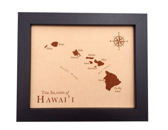3rd anniversary leather map- laser engraved- Hawaiian Islands map - leather anniversary