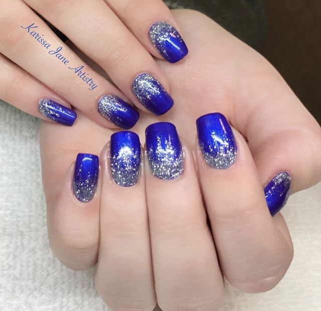 Blue And Silver Gel Nails Blue And Silver Nails Blue Nail Designs Silver Nail Designs