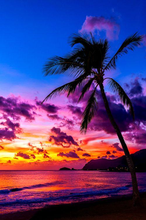 Entardecer em uma praia no estado do Havaí, USA.
