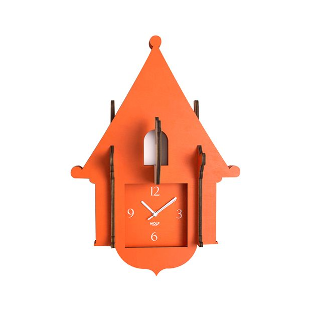 The fun and beautiful Delphine Wooden Cuckoo Clock is sure to enchant as the little bird jumps forward from whichever wall you place this clock upon.  This adorable clock is easily assembled by just sl...  Find the Delphine Wooden Cuckoo Clock, as seen in the The Modern Outdoorsman Collection at http://dotandbo.com/collections/the-modern-outdoorsman?utm_source=pinterest&utm_medium=organic&db_sku=102337
