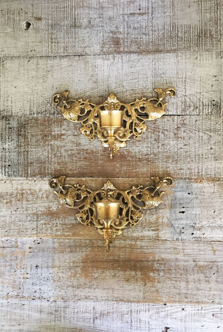 Candle Sconces Pair Of Brass Ornate Candlestick Holders Hollywood Regency Wall Mid