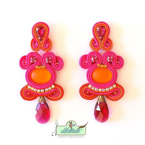 Soutache Earrings Swarovski Crystal di DILETTANTEsoutache su Etsy, $180.00