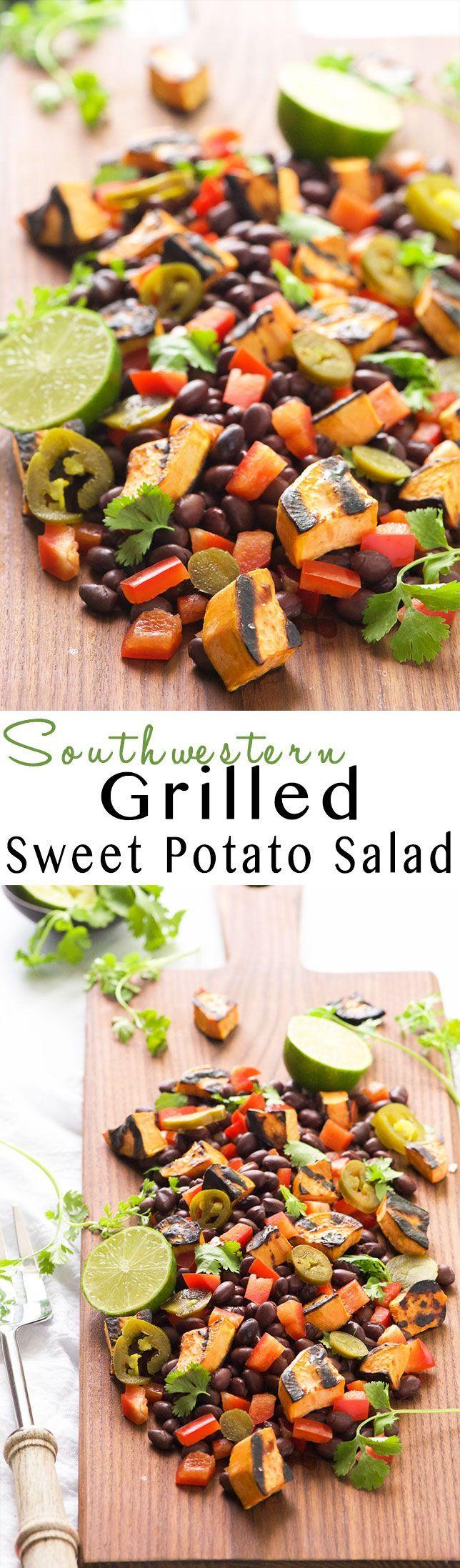 Southwestern Grilled Sweet Potato Salad | Healthy, Gluten Free, Recipes, Black Beans, BBQ, Vegan, Spicy, Easy