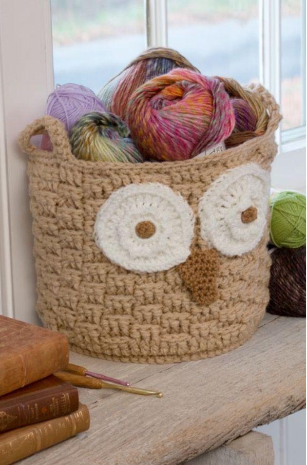 Owl Basket Crochet Free Pattern